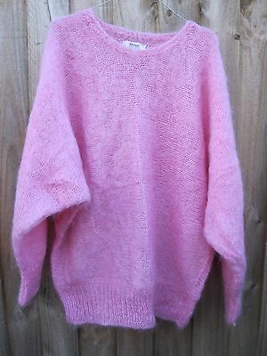 VINTAGE 80s 90s  PASTEL PINK OVERSIZED MOHAIR WOOL NYLON JUMPER ENGLAND