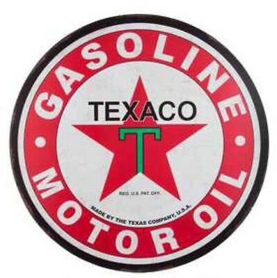"Texaco Gasoline Gas Motor Oil Company Large 30"" Round Embossed Metal Sign"