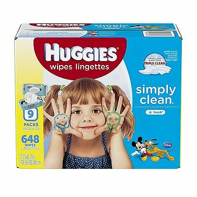 Huggies Simply Clean Baby Wipes Fresh Scent Soft Pack 648 Ct Baby Supply