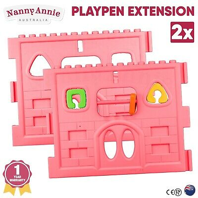 2x Panel Baby Playpen Extension for Interactive Baby Play Room - Pink