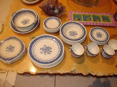 Vintage Grindley Avon England 45 pc Service for 6+ Blue and White Transferware