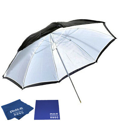 "Phot-R 43"" Black & White Reflector Collapsible Umbrella Microfibre Chamois Cloth"
