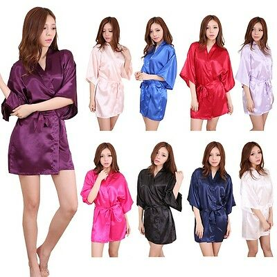 Women Satin Kimono Dressing Gown Long Bath Robe Nightie Dress Sleepwear Pajamas