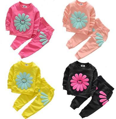 Toddler Baby Girls Long Sleeve Hoodies Tops Pants Trousers Tracksuit Outfit Set