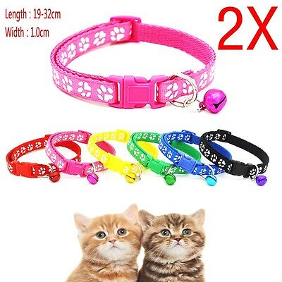 Adjustable Pet Cat Dog Puppy Glossy Reflective Collar Safety Buckle Bell Strap D