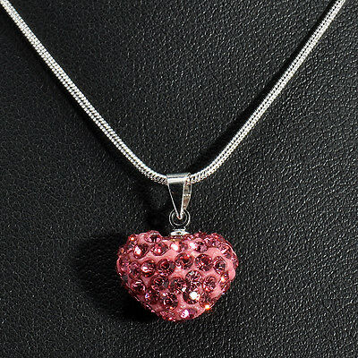 Heart Silver Plated Fashion Crystal Necklace Jewelry Pendant Chain Gifts