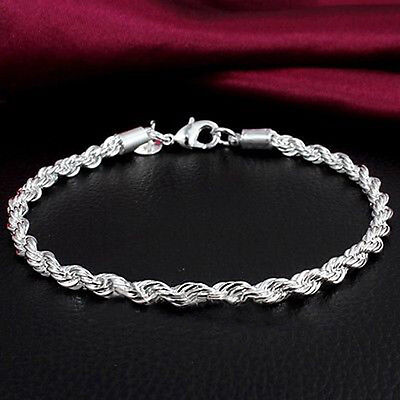 Fashion Women Men Unisex 925 Silver Plated Twisted Rope Bangle Bracelet Chain