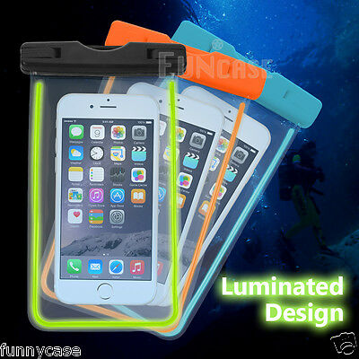 FOR Smartphone iPhone Galaxy Waterproof Bag Pouch Underwater Glowing Cover d6