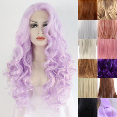 """24"""" Long Curly Wavy Lace Front Wig Heat Resistant Party Synthetic Hair Side Part"""