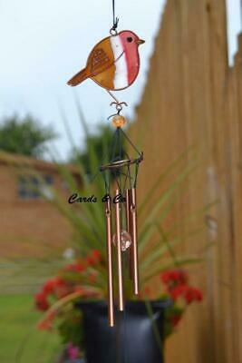 Stained Glass Colourful Red Robin Bird Hanging Sun Catcher Chime Home Garden