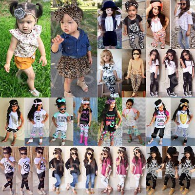 3PCS Kids Baby Girls Clothes T-shirt Tops+Pants/Jeans/Skirt+Headband Outfits Set