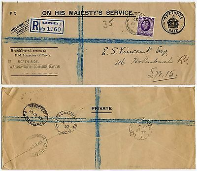 GB 1935 OFFICIAL PAID REGISTERED + ADDITIONAL 3d WANDSWORTH CDS