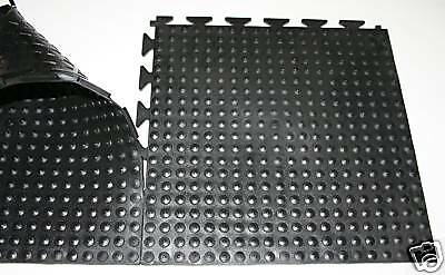 Black Super Thick Heavy Duty 8.5mm Interlocking Floor Tiles Anti-Fatigue 292mm
