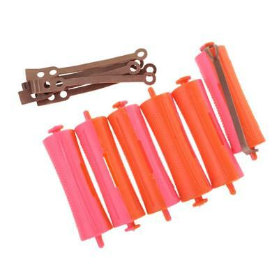 Lot 6 Salon Cold Wave Rods Rubber Band Hair Roller Curling Wavy Curl Perms