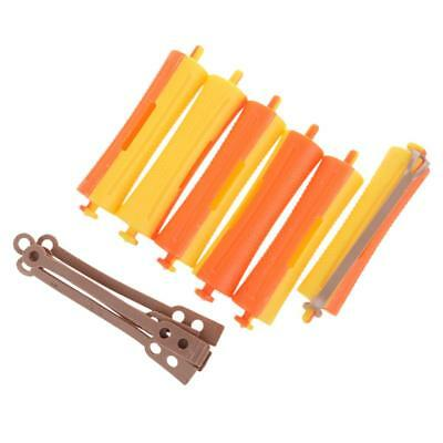 Lot of 6 Salon Cold Wave Rods Rubber Band Hair Roller Curling Curler Perms