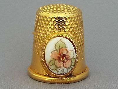 Brass Coloured Thimble - Hand-Painted Floral Panel