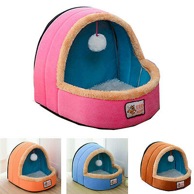 Pet House Dog Kennel Sleeping Warmer Bed Foldable Cushion Cat Playing Ball Mat