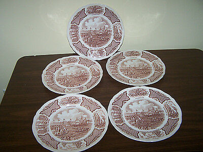 5 Alfred Meakin Fair Winds Dinner Plates Staffordshire England Historcal Scene's