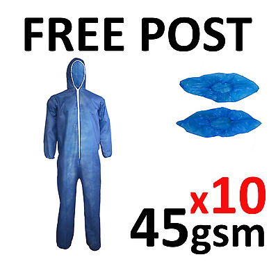 10 x Coveralls Overalls Boilersuit Protectors CE/Disposable Overshoes Shoe Cover