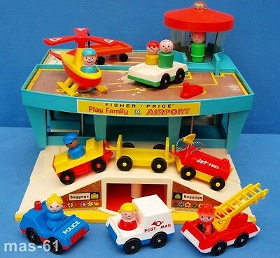 Fisher Price Play Family Flughafen Vintage Airport Little People Aufklappbar 996