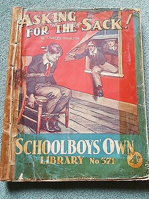 "Frank richards"" asking for the sack !"" schoolboys own library number 371"