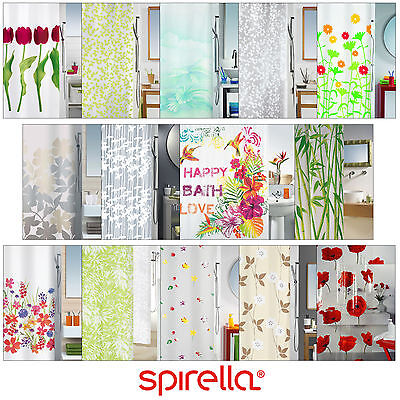 Spirella FLORAL SHOWER CURTAIN Bathroom Waterproof Extra Long 180 x 200 Fabric