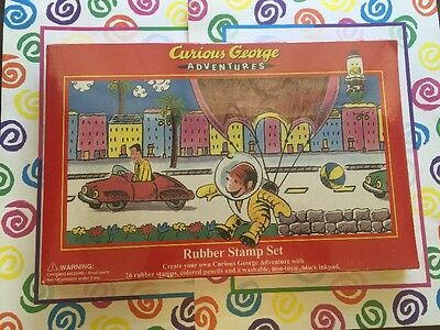 Curious George Adventures Rubber Stamp Set 26 Rubber Stamps New Sealed Package