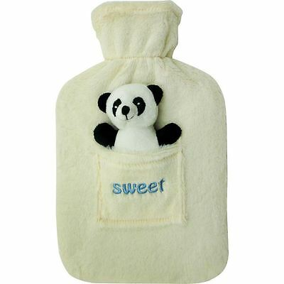 New 2L Large Rubber Hot Water Bottle With Warm Fleece Fur Animal Cover Panda