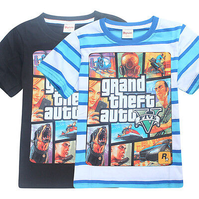 T-SHIRT GRAND THEFT AUTO GAME Kids T shirts Tops Outfit Costume Summer Clothes