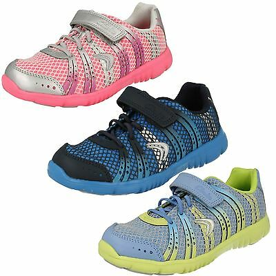 Sale Freesprint Girls Clarks Pink Blue Combi Trendy Sports Trainers Shoes Pumps