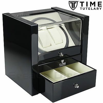 Time Tutelary KA018 Luxury Dual Watch Winder Black Gloss Finish With One Drawer