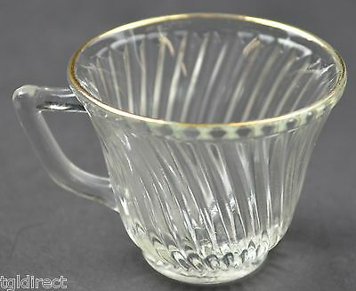 """Federal Glass Diana Gold Trim Pattern Flat Cups 2"""" Tall Collectible Glass"""