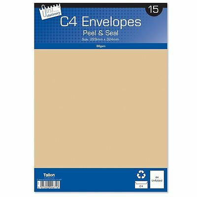 MANILA ENVELOPES - C4 - 15pk - Peal & Seal POST HOME OFFICE & SCHOOL