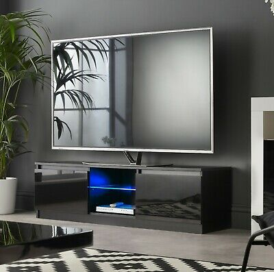 Black TV Cabinet stand LED lights 120cm suits 30 to 55 inch LED LCD tv screens