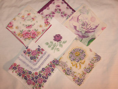 6 Vtg*floral Lot All W/lavenders*no Spots/holes*very Good Condition*wedding