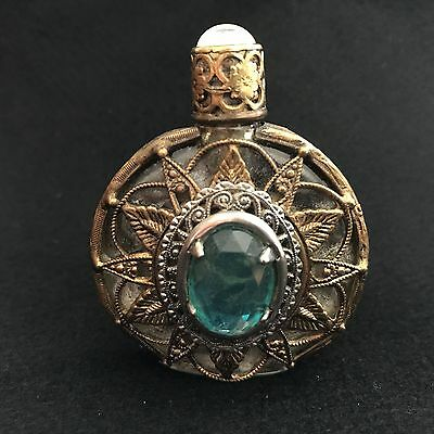 Bohemian Glass and Ormolu Scent/Perfume bottle with pretty blue stone setting.