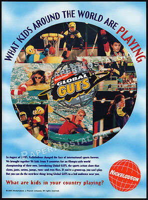 NICKELODEON - Global GUTS__Original 1995 Trade print AD promo__Kids Sports__TV
