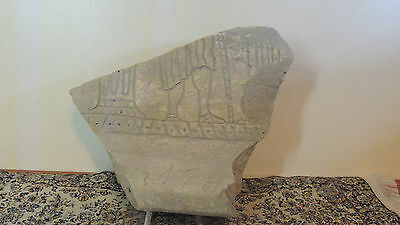 Antique Stone  Fragment With Drawings