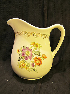 Antique White/ Floral  W.s. George Pitcher Model No. 489A  Gold Trim 7""