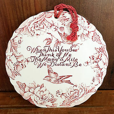 Crownford China Staffordshire England, Red Transferware Friend Hanging Plate