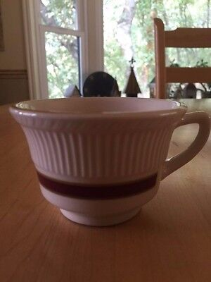 Shenango China Cup with Ribbed Rim, Red & Gold Bands