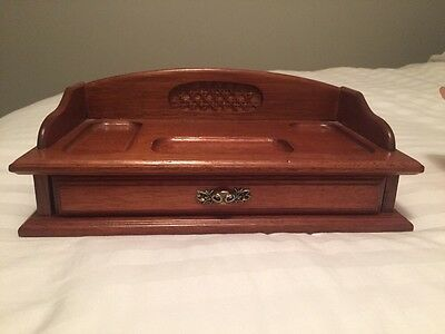 Mens Valet Tray Wooden Jewelry Holder Storage Box Dresser Top Change Organizer