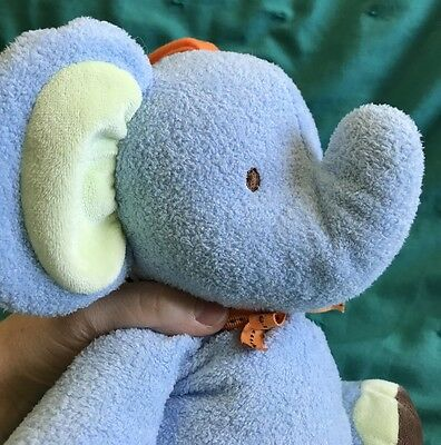Carter's Just One You Blue Brown Green Elephant Plush Musical Pull Crib Toy 12""