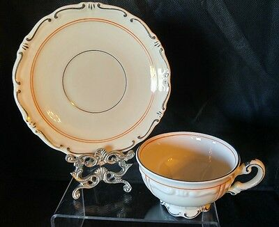 Mitterteich - Bavaria - Cup and Saucer - Rare Orange Pattern - 4 Available