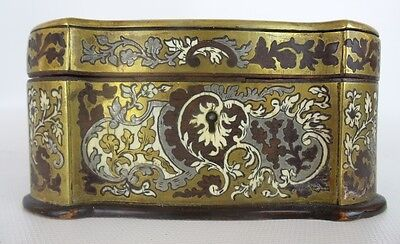 Antique French Boulle Casket Hinged Box with Original Locking Key and Lining