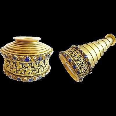 "Magnificent Antique Jeweled Monocular ""GILT FLORA w/ BLUE & GOLD GEMS"