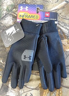 Under Armour Youth's UA ColdGear Infrared Core Black WARM Gloves, M or S