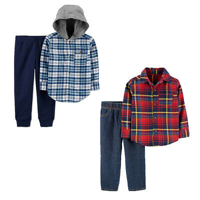 NWT Carter's Toddler Boys' 2pc Fall  Winter Flannel Shirt / Jeans or Pant Set