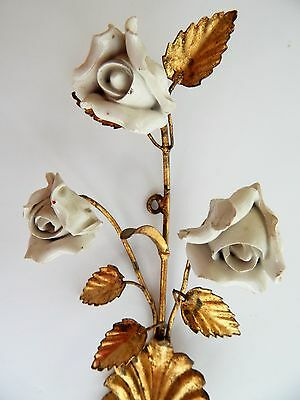 Antique Vintage Gold Tole Ware White Porcelain Roses Candle Wall Sconce