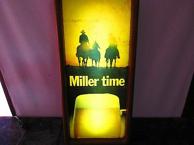 """Miller time Sign 24.5x12x4.5""""  lighted Unique man cave bar beer & horses brewery"""